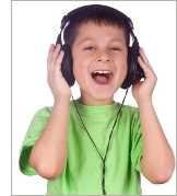 Boy listening to audiobook