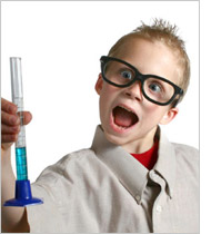 Child scientist making a discovery