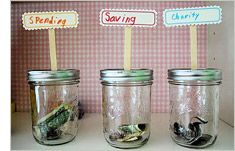 Savings, spending and charity money jars